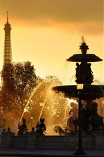 Preview iPhone wallpaper Paris, France, fountains, water splash, Eiffel Tower, sunset