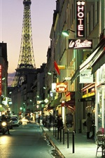 Preview iPhone wallpaper Paris, city street at night, cafe bar, lights, cars, road