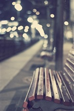 Park, bench, bokeh, evening