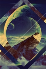 Preview iPhone wallpaper Planet, clouds, mountains, creative picture