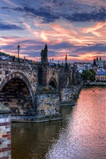 Preview iPhone wallpaper Prague, Czech Republic, bridge, river, boats, houses, dusk