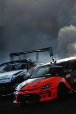 Preview iPhone wallpaper Race cars, drift, smoke