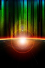Preview iPhone wallpaper Rainbow rays, glare, light, planet, abstract art