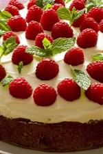 Preview iPhone wallpaper Raspberry cake, cream, dessert