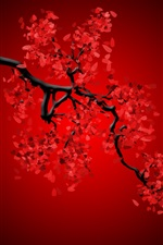 Preview iPhone wallpaper Red flowers, twigs, creative picture