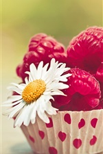 Preview iPhone wallpaper Red raspberry and daisy flower