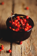 Preview iPhone wallpaper Red rowan berries, wood board
