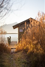 Preview iPhone wallpaper Reeds, hut, dock, lake