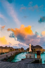Preview iPhone wallpaper Resorts, coast, sea, huts, clouds