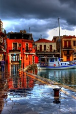 Preview iPhone wallpaper Rethymno, Greece, houses, street, boats, HDR style
