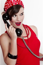 Preview iPhone wallpaper Retro style, red dress girl use telephone