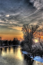Preview iPhone wallpaper River, trees, snow, winter, dusk, HDR style