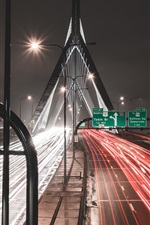 Preview iPhone wallpaper Road, light lines, bridge, city, night