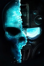 Preview iPhone wallpaper Robot, skull, black background