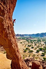 Preview iPhone wallpaper Rock climbing, extreme sport, cliff, trees