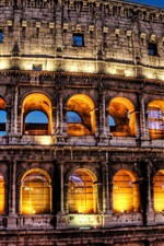 Roma, colosseum, noturna, luzes
