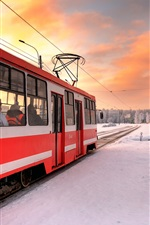 Preview iPhone wallpaper Saint Petersburg, Russia, tram, winter, snow