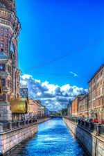 Preview iPhone wallpaper Saint Petersburg, street, houses, river, HDR style