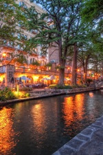 Preview iPhone wallpaper San Antonio, Texas, city, river, street, trees, buildings, lights, evening