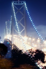 Preview iPhone wallpaper San Francisco, bridge, lights, illumination, night
