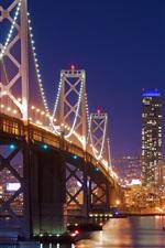 San Francisco, bridge, lights, river, night, USA