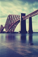 Preview iPhone wallpaper Scotland, Forth Rail Bridge, sea, railway