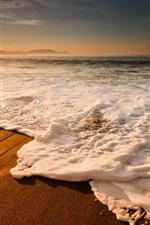 Mar, praia, costa, ondas, espuma, pôr do sol