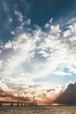 Preview iPhone wallpaper Sea, bridge, clouds, sun rays, sunset