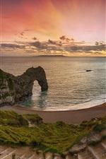 Mar, costa, arco, praia, escada, pôr do sol