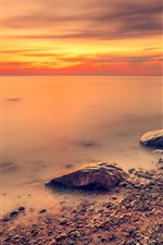 Preview iPhone wallpaper Sea, red sky, coast, stones, sunset