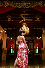 Preview iPhone wallpaper Short hair Asian girl look back, cheongsam, room