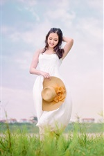 Preview iPhone wallpaper Smile Asian girl, white dress, hat, brown horse