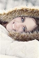 Preview iPhone wallpaper Smile girl, winter, snow, coat