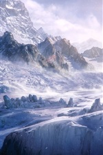 iPhone fondos de pantalla Nieve, montañas, frío, viento