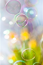 Preview iPhone wallpaper Soap bubbles flying, blurry