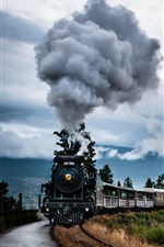 Preview iPhone wallpaper Steam train, smoke, bridge, clouds
