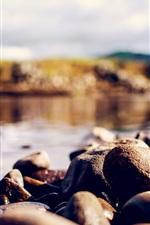 Preview iPhone wallpaper Stones, river, bokeh