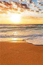 iPhone обои Закат пляж, пески, волны, облака, небо