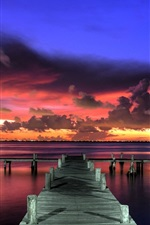 Preview iPhone wallpaper Sunset, evening, pier, red sky, clouds