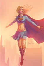 Preview iPhone wallpaper Supergirl, flying, wind, city, art picture