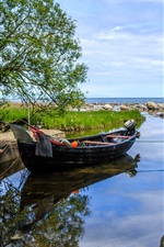 Preview iPhone wallpaper Sweden, bay, boat, trees, stones, sea