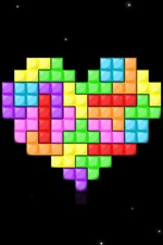 Preview iPhone wallpaper Tetris love heart, space
