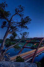 Preview iPhone wallpaper Texas, Austin, Pennybacker Bridge, river, city, light, USA