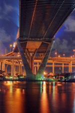 Preview iPhone wallpaper Thailand, Bangkok, city bridge, lights, river, night