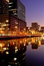 Preview iPhone wallpaper Tokyo, city night, buildings, lights, river, Japan