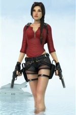 Preview iPhone wallpaper Tomb Raider, Lara Croft, sea, boat
