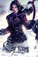 Preview iPhone wallpaper Tomb Raider, Lara Croft, winter, snow, art picture