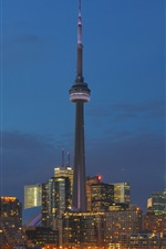 Toronto, Canada, buildings, lights, city, night, tower