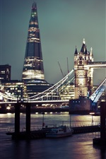 Preview iPhone wallpaper Tower Bridge, river, boats, night, city, London