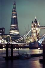 Tower Bridge, river, boats, night, city, London